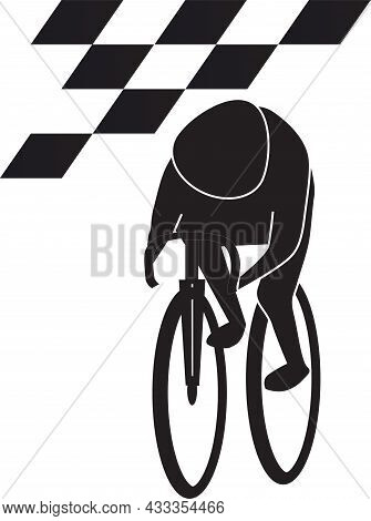 A Cyclist Struggles With All His Might To Race To The Finish Line