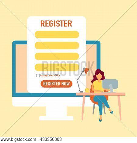 Woman Submitting Online Registration Form On Desktop Computer In Flat Design.