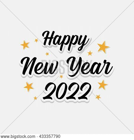 Happy 2022 New Year Banner For Your Seasonal Holidays. Design Background 2022 With Stars. Vector Ill