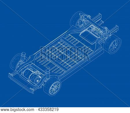 Electric Car Chassis With Battery. Vector Rendering Of 3d. Wire-frame Style. The Layers Of Visible A