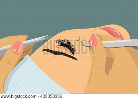 Eyelash Extension. Procedure For Eyelash Extension. Master Tweezers Add The False Or Fake Cilia To T