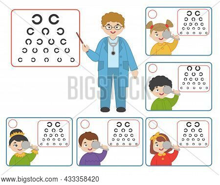 Game For Kids. Doctor Oculist Pointing At Children Eyesight Test Chart Symbols. Optometrist Checking