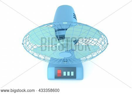 Blue Table Fan Top View 3d Rendered Illustration. Desk Cooling Fan. Realistic Electrical Blower. Air