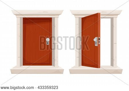 Set Wooden Door Open And Closed In Cartoon Style Isolated On White Background. Stone Door Frame, Ent