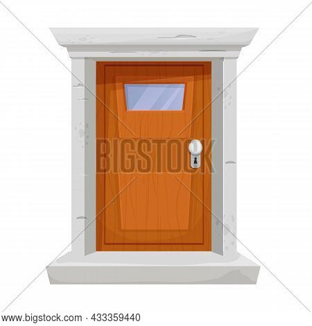 Wooden Door With Window, Stone Door Frame In Cartoon Style Isolated On White Background. Closed Mode