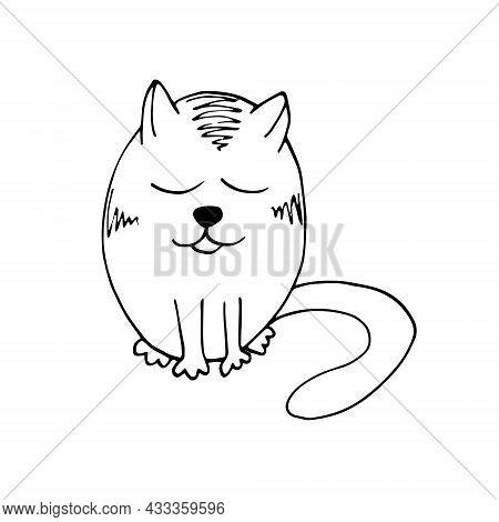 Cat Hand Drawn Doodle. Vector, Scandinavian, Nordic, Minimalism, Monochrome Animals Children Print S