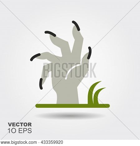 Zombie Hand. Flat Silhouette Icon With Shadow