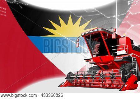 Digital Industrial 3d Illustration Of Red Advanced Rye Combine Harvester On Antigua And Barbuda Flag