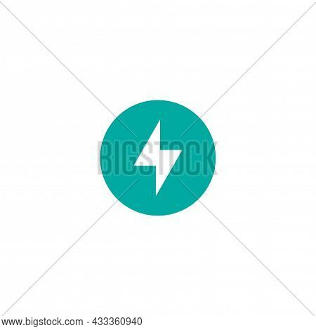 Lightning Bolt In Circle Simple Flat Icon. Storm Or Thunder And Lightning Strike Sign Isolated On Wh