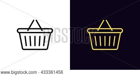 Outline Shop Basket Icon, With Editable Stroke. Linear Sign Of Basket With Handle, Shopping Pictogra