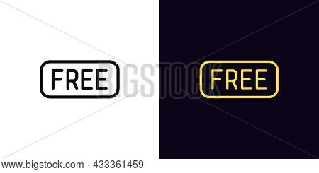 Outline Free Tag, Icon With Editable Stroke. Linear Sign Of Text Free, Shopping Pictogram. Promotion