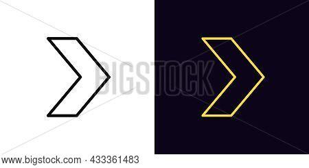 Outline Arrow Icon, With Editable Stroke. Linear Arrow Motion Sign, Pointer Pictogram. Arrowhead And
