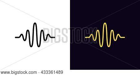 Outline Sound Wave Icon, With Editable Stroke. Linear Waveform Sign, Voice Pictogram. Acoustic Vibra