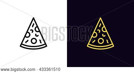 Outline Pizza Slice, Icon With Editable Stroke. Linear Pizza Sign, Restaurant Signboard. Food Court