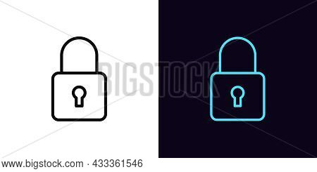 Outline Lock Icon, With Editable Stroke. Linear Lock Sign, Closed Padlock Pictogram. Personal Data P