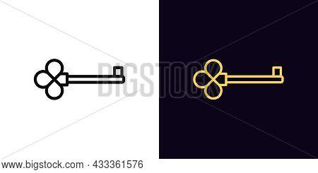 Outline Key Icon, With Editable Stroke. Linear Key Sign, Magic Clue Pictogram. Golden Skeleton Key,