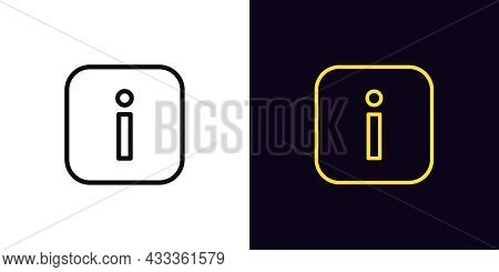 Outline Info Icon, With Editable Stroke. Linear Information Sign, Inform Pictogram. Online Info Cent