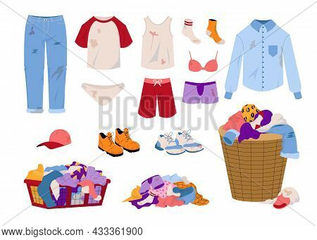 Dirty Laundry. Cartoon Seasonal Clothing With Mud Stains. Pile Of Men And Women Garments. T-shirts J