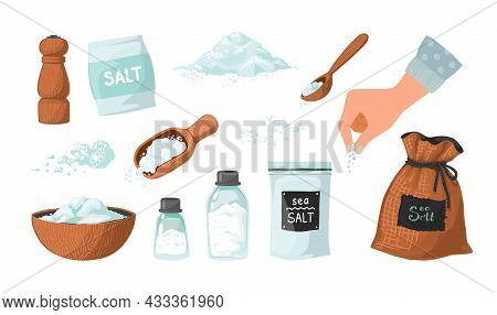Hand Drawn Salt. Powder In Spoon And Bowl. Hand Spreading Salty Sea Crystals. Seasoning In Glass Bot