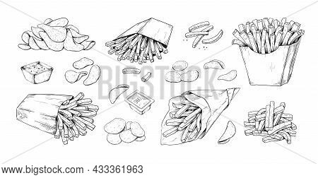Fried Potato. Hand Drawn French Fries. Vegetable Dips And Chips. Isolated Black And White Sketch Of