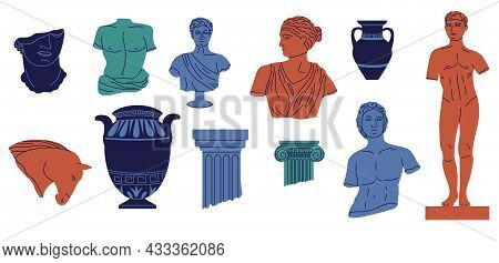 Greek Abstract Statue. Mythology Ancient Sculpture. Vase And Column Parts. Bright Horse Head. Histor