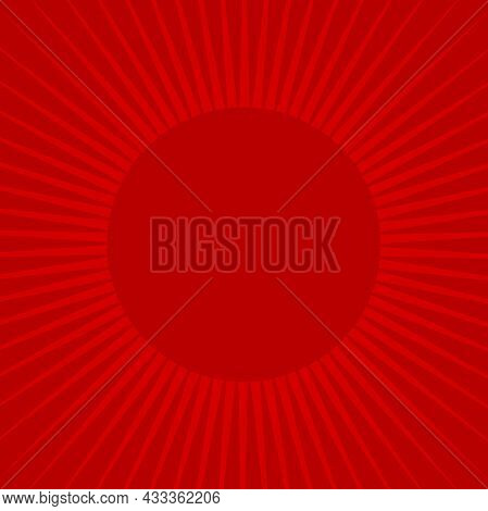 Sunlight Rays Retro Background With Round Frame For Text. Bright Red Color Burst Background. Vector