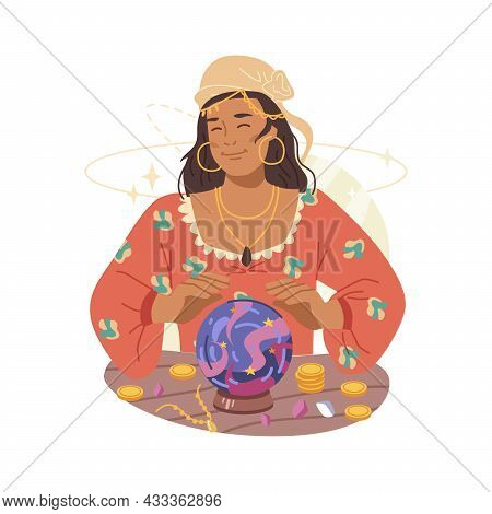 Fortune Teller Magic Woman Guessing On Magic Crystal Ball Isolated Flat Cartoon Character. Vector Fu