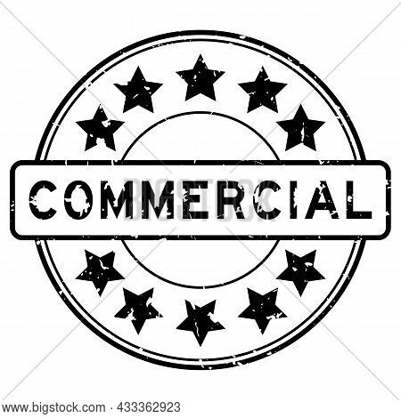 Grunge Black Commercial Word With Star Icon Rubber Seal Stamp On White Background