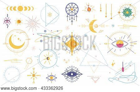 Wicca Occult Magic Witchcraft Flat Cartoon Icons Isolated Set. Vector Magical Signs, Evil Eye, Celes