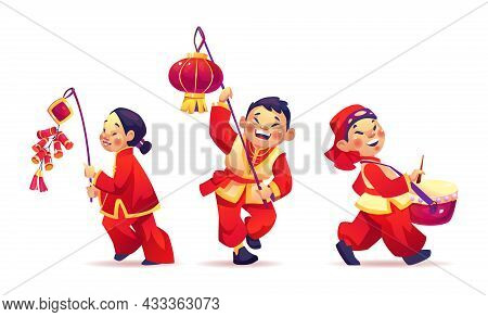 Chinese New Year Festival, People Celebrate Cny Isolated On White. Vector Boys And Girls With Paper