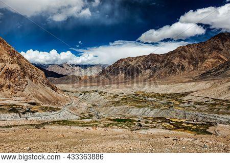 Kardung village in Himalayas mountains near Kardung La Pass . Ladakh, India