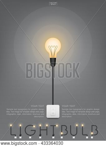 Abstract Light Bulb And Light Switch On Gray Background. Lamp And Switch With Area For Copy Space. V