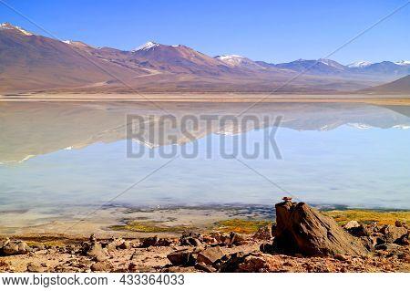 Laguna Blanca Or 'the White Lake' In Eduardo Avaroa Andean Fauna National Reserve, Potosi Department