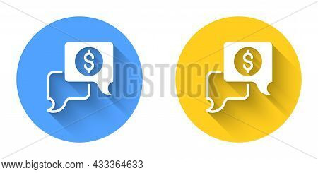 White Business Negotiations Icon Isolated With Long Shadow Background. Team Work Process. Business M