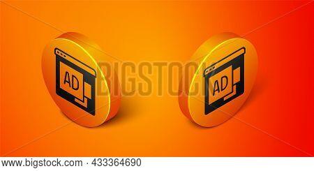 Isometric Advertising Icon Isolated On Orange Background. Concept Of Marketing And Promotion Process