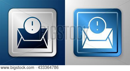 White Envelope Icon Isolated On Blue And Grey Background. Received Message Concept. New, Email Incom