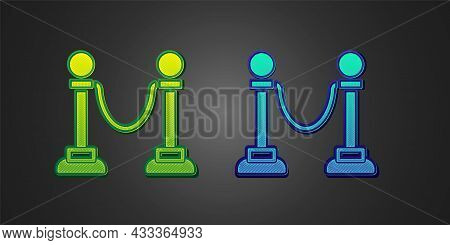 Green And Blue Rope Barrier Icon Isolated On Black Background. Vip Event, Luxury Celebration. Celebr