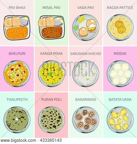Indian Food Vector Graphics. Marathi Maharashtra Food. Main Course Breakfast Lunch And Dinner Meals