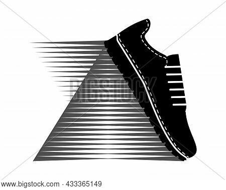 Sneaker Logo. Sport Shoe For Running. Black And White Silhouette. Sport Footwear For Men And Women.