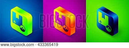 Isometric Carton Cardboard Box Icon Isolated On Blue, Purple And Green Background. Box, Package, Par