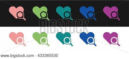 Set Medical Heart Inspection Icon Isolated On Black And White Background. Heart Magnifier Search. Ve
