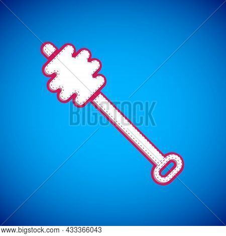 White Honey Dipper Stick Icon Isolated On Blue Background. Honey Ladle. Vector