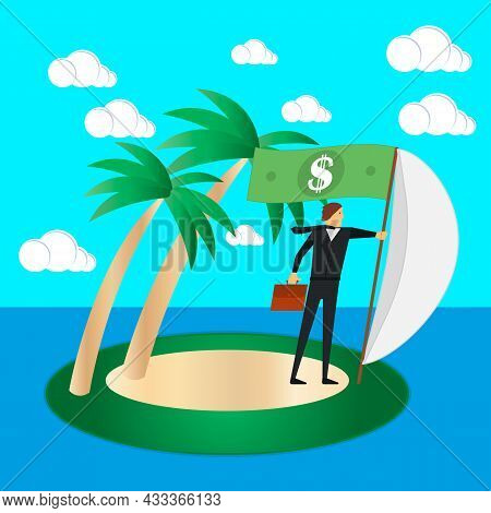 Business Risk And Survival Concept. Businessman On A Tropical Island Fly A Sail And A Dollar Flag. V