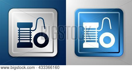 White Spinning Reel For Fishing Icon Isolated On Blue And Grey Background. Fishing Coil. Fishing Tac