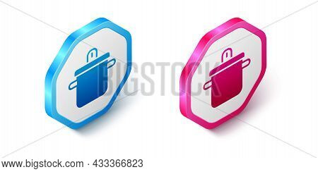 Isometric Cooking Pot Icon Isolated On White Background. Boil Or Stew Food Symbol. Hexagon Button. V