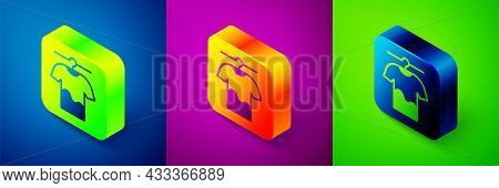 Isometric Drying Clothes Icon Isolated On Blue, Purple And Green Background. Clean Shirt. Wash Cloth