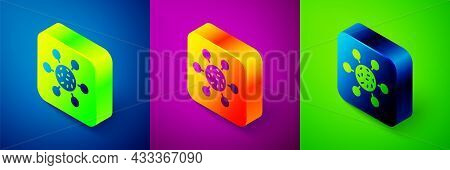 Isometric Bacteria Icon Isolated On Blue, Purple And Green Background. Bacteria And Germs, Microorga