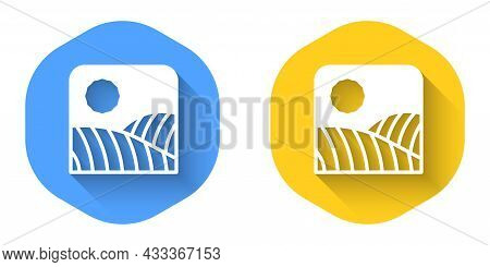 White Agriculture Wheat Field Farm Rural Nature Scene Landscape Icon Isolated With Long Shadow Backg