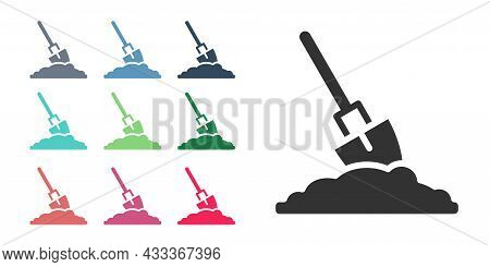 Black Shovel In The Ground Icon Isolated On White Background. Gardening Tool. Tool For Horticulture,