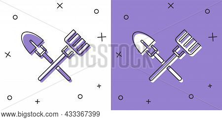 Set Shovel And Rake Icon Isolated On White And Purple Background. Tool For Horticulture, Agriculture